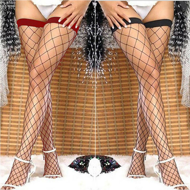 Summer Women Lace Long Stockings Mesh Sheer Fishnet Black Stockings Hollow Out Stretch See Through Stockings Hosiery