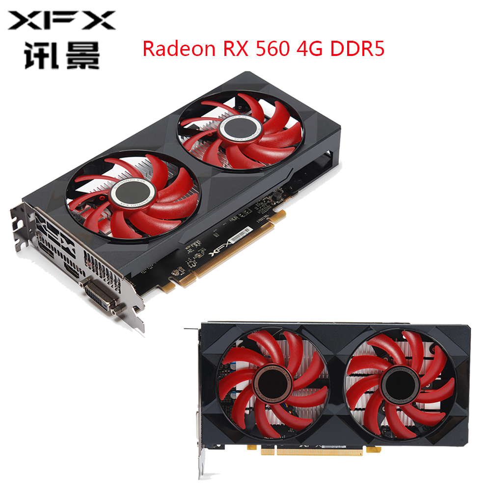 XFX Radeon RX 560 4GB DDR5 Video Card AMD Graphics Card 4GB GPU 128 Bit RX560 Gaming PC Graphics Cards Gaming Desktop Used Card image