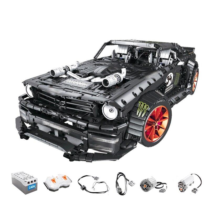 Ford Mustang Hoonicorn RTR V2 Racing Car with power function led light legoinges Technic MOC-22970 building block bricks Kids 1