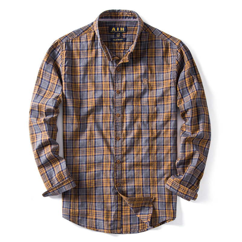 New 2020 Spring Summer 100% Cotton Men Shirt Long Sleeve Slim Fit Plaid Social Shirt Men High Quality Business Mens Dress Shirts