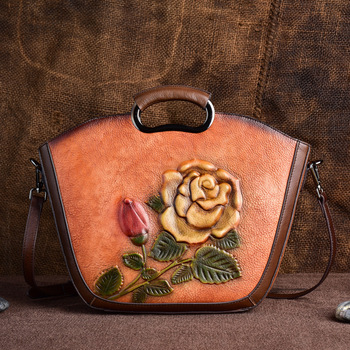 Real Cowhide Women Shoulder Tote Messenger Bags Retro Female Handbag Famous Brand Flower Pattern Top Handle Genuine Leather Bag