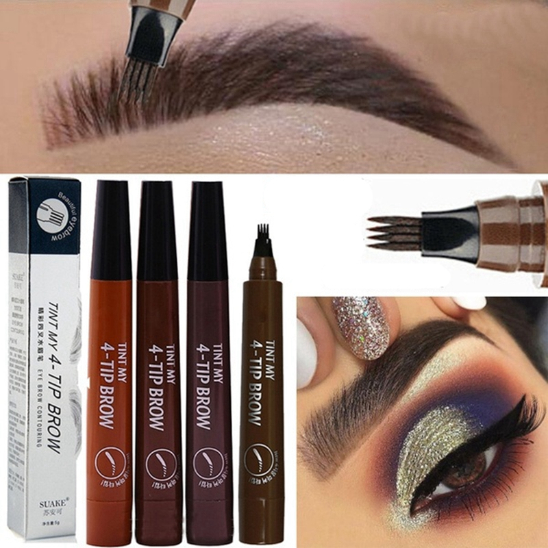 1 Pc Makeup Eyebrow Pencil Liquid Makeup Pencil Waterproof  Brown Eyebrow Pencil With Fork Tip Durable Tattoo Pen