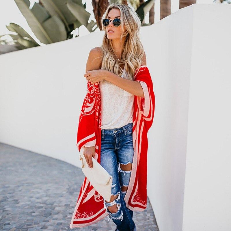 Womens Tops And Blouses Beach Style Cardigan Kimono Ladies Digital Print Summer Fashion Sunscreen Shirts1