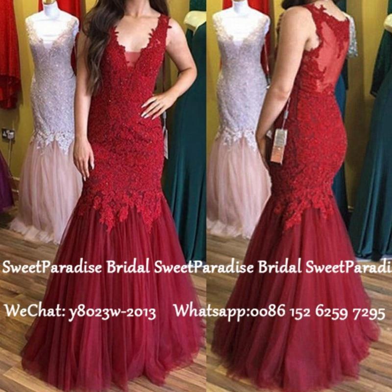 Burgundy Lace Tulle Mermaid Prom Dresses With Appliques 2020 V Neck Sheer Back Long Evening Dress For Women Vestido De Festa
