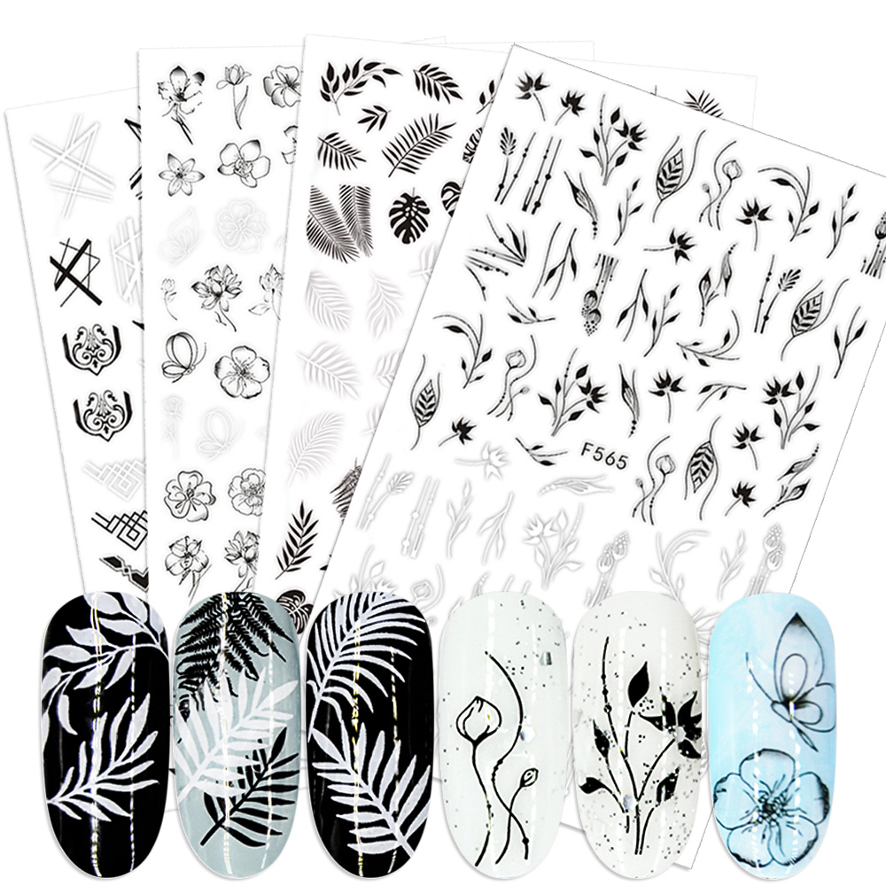 1pcs Black 3D Nail Stickers Adhesive Decals Letter Flowers Leaf Geometry Designs Sliders Tattoo Manicure Decorations TRF554-573