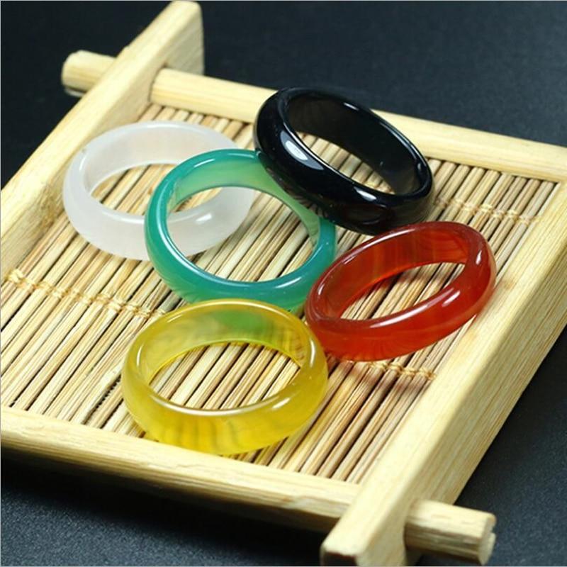 3pcs สุ่ม Unisex ธรรมชาติ Agate Carnelian อัญมณี Solid Band แหวนหยกขนาด 7-9 Meditation Relax Healing ผู้หญิง man luck ของขวัญ