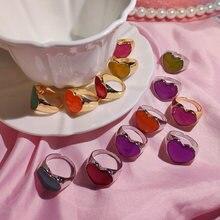 Flatfoosie alta calidad dedo corazón anillos para las mujeres Simple coreano de moda Metal geométrica anillos de boda y joyería de regalo