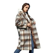 SEMIR long Trench Coat Women Retro Plaid Wool coat Windbreak Warmth Blend Overcoat Satin Lined Strap Long Coat For Woman