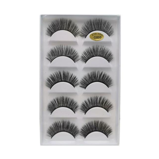 5 Pairs Eye Lashes Hand Made Natural fake eyelashes 3d Mink Lashes Soft Dramatic Eye Lashes For Makeup Cilios Mink Maquiagem 4