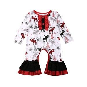 Boże narodzenie noworodek dziewczynka nadruk reniferów ubrania Romper kombinezon stroje 0-24M