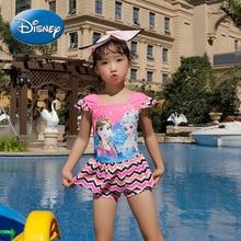 Disney Frozen Children's Swimsuit Girls Siamese Boxer Swimsuit Snow White Cute Baby Hot Spring Quick-drying Swimsuit