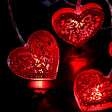 1,65 M lámpara de amor de hierro rojo luces decorativas 10 LED tipo de batería 2 pilas AA impermeable IP20 blanco cálido multicolor JS(China)