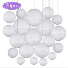 Lampions chinois boules de papier suspendues, 30 pièces par lot, mélange tailles de 4 à 12 pouces, lanternes blanches à suspendre, décoration pour mariage, décor de fête, abat-jour