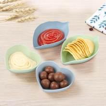 Assiette de cuisine, Sauce alimentaire, Plat de Wasabi polyvalent en forme de feuille, petites soucoupes d'assaisonnement, assiettes d'amuse-gueule, bol 4 couleurs, Plat de collation chaud 1 pièce