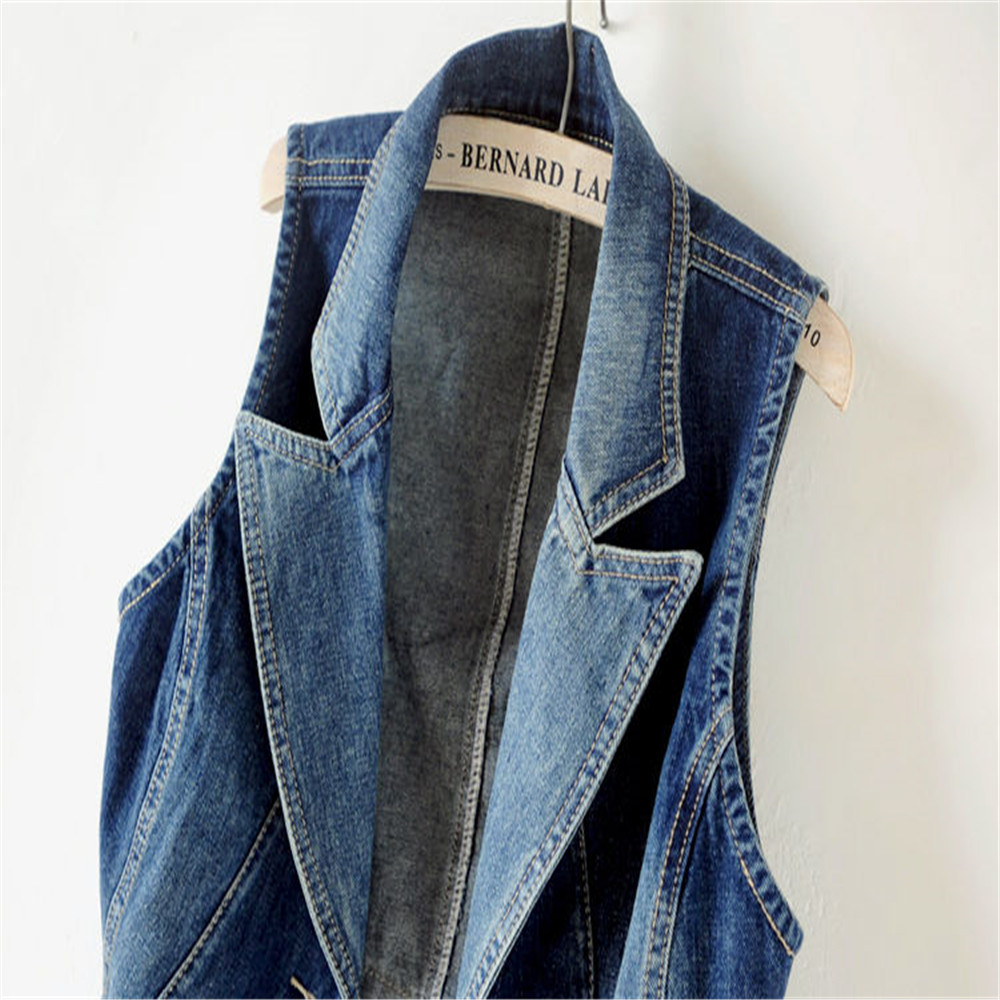 Plus Size Casual Female Tops Women Denim Vest Jacket Spring Autumn Clothes Sleeveless Short Jeans Waistcoats Single-Breasted