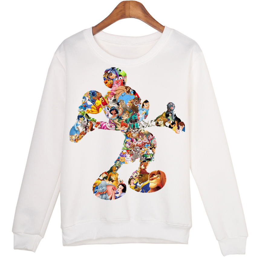 Harajuku Cartoon Comic Mickey Printing Joker Trend Pullover Sweatshirt White Lovers Kawaii Women Casual Long Sleeve Hoodies Tops
