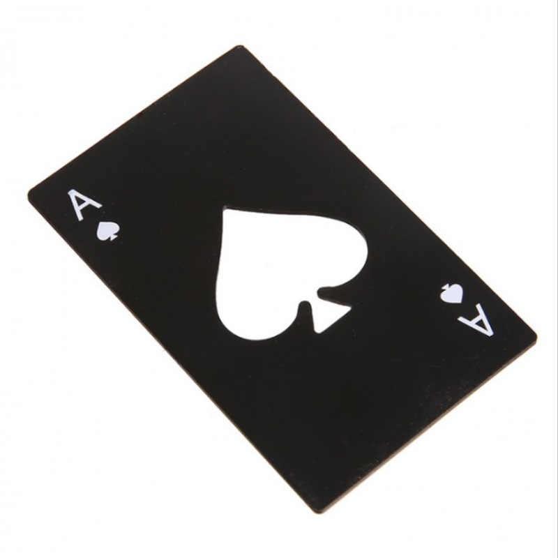 Heißer Verkauf Tragbare Edelstahl Spaten EINE Flasche Opener Poker-Förmigen Spielkarten Für Bier Flasche Opener Werfen Und schneiden