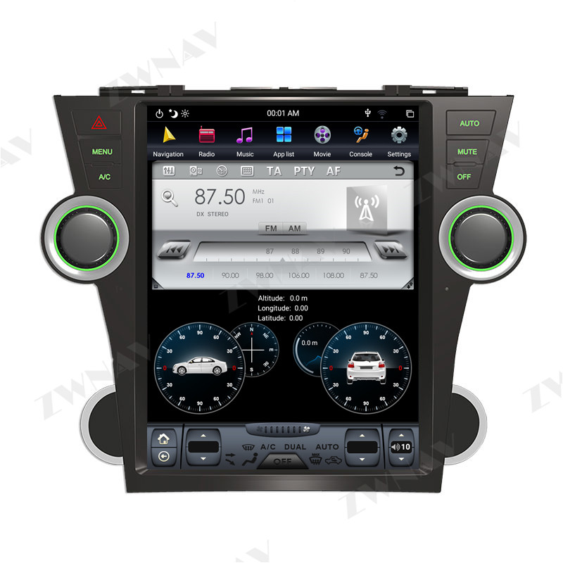 Купить 128g tesla экран для 2007 2013 toyota highlander android10 автомобильный