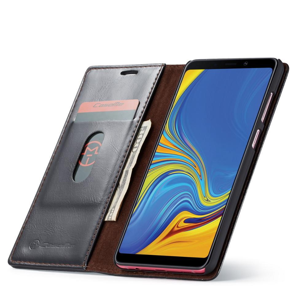 CaseMe PU Leather Magnetic Cases For Samsung Galaxy A9 A8 A7 A6 2018 Wallet Card Holders Phone Cases For Galaxy Note 9 8 in Wallet Cases from Cellphones Telecommunications