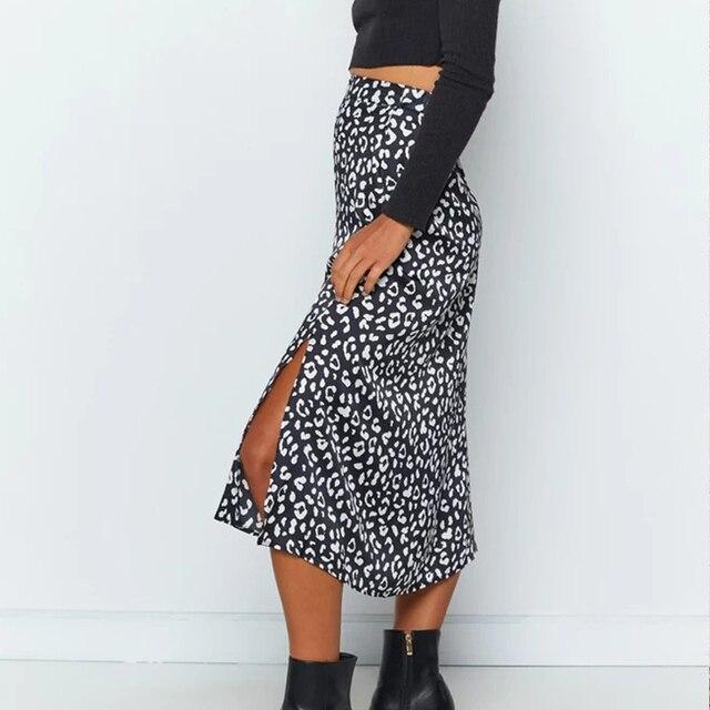 Summer women vintage elegant beach midi boho skirt 2021 Women Leopard print split sexy zip skirts womens Casual skirts female 3