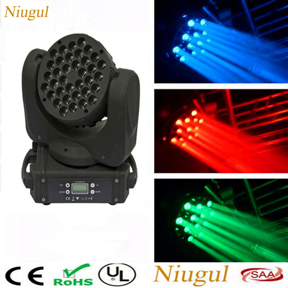 36X3W LED Beam Moving Head Light/DMX512 RGBW LED Wash Beam Effect Stage Lighting Good For Disco Bar Home Party DJ Equipments