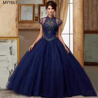 Sparkle Navy Blue Quinceanera Dresses 2019 High Collar With Jacket Party Shimmering Ball Gowns For 15 Years Sweet 16 Princess
