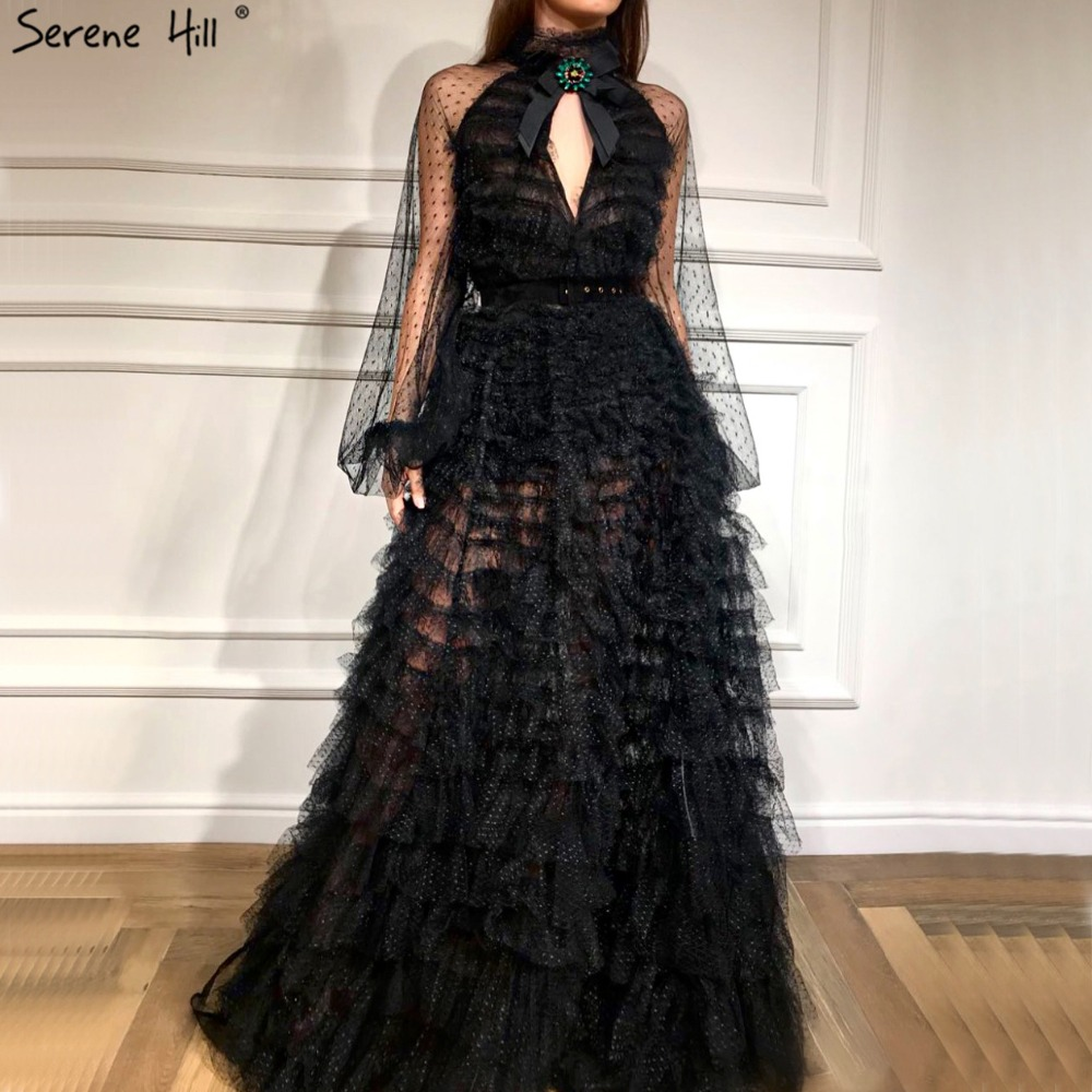 Black Perspective Sexy Evening Dresses 2019 Bow CUT-OUT Long Sleeves Evening Gowns Serene Hill LA60906