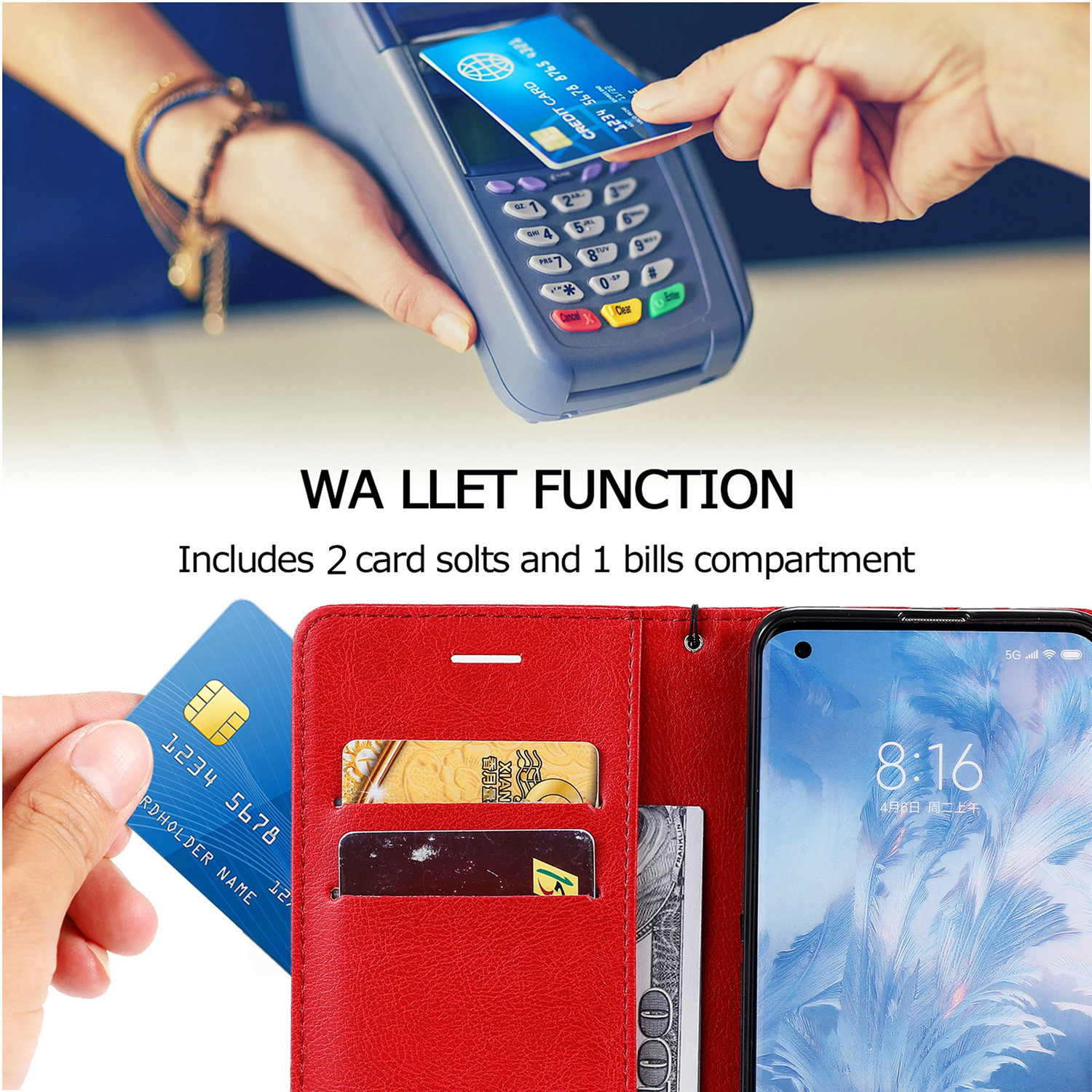 Luxury Leather Wallet Case For iPhone 12 Mini 11 Pro X XS Max XR 6 6S 7 8 Plus 5S SE 2020 Holder Card Slots Flip Cover Stand Bag