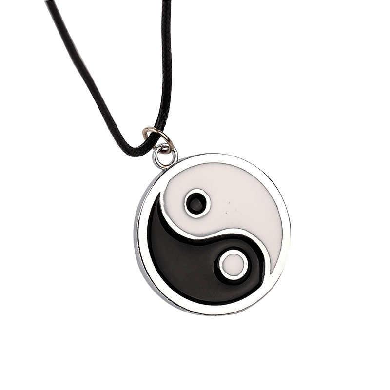 10PC émail Noir//Blanc Bagua Taiji Yin Yang Taoist charme amulette pendentif 17*20mm