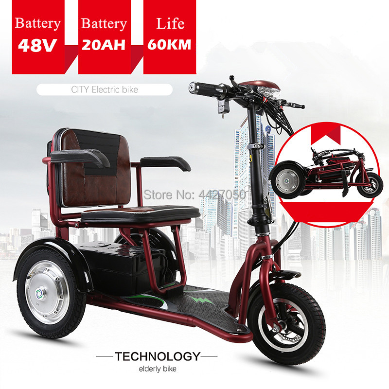 Free Shipping   Hot Sale  Lightweight Folding Three-wheel Electric Scooter Wheelchair  Disabled