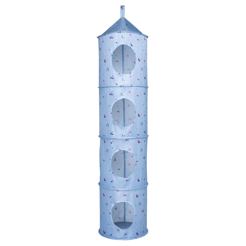 4 Tier Oxford Fabric Collapsible Hanging Closet Organizer Toys Organizer Gloves Hats Storage Organizer Shelves for Kids' Rooms|Foldable Storage Bags| |  - title=