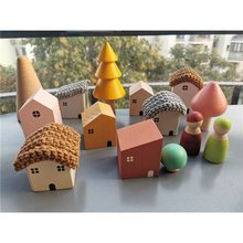 Kids Wooden Toy Color Nordic Buiding House Stacking Crochet House Blocks Hedgechog Unpaint Wooden Trees Montessori Toy