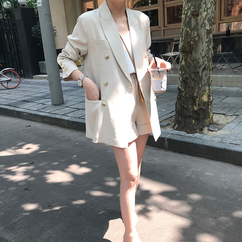 Spring Women's Suit Casual Plaid Double-breasted Suit + Shorts Suit