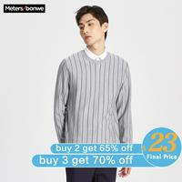 Me&city Men Autumn Winter High Quality Fashion Basic Knitted Wool sweater Vertical stripes Men Business Wool Sweater