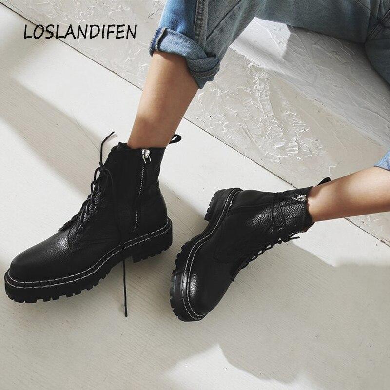 Женские кожаные ботинки на шнуровке в британском стиле, Ботинки Martin с круглым носком на платформе, зима 2019 Полусапожки      АлиЭкспресс