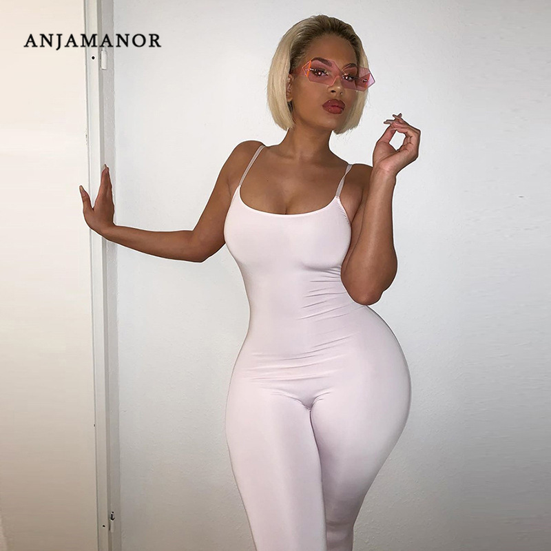 ANJAMANOR 2020 Bodycon Casual Jumpsuit Women Active Wear Slim Buttock Lifting Cami Onesie Sexy One Piece Outfits D87-AB86