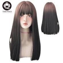 7jhh длинный парик Реми с челкой градиентный цвет синтетический
