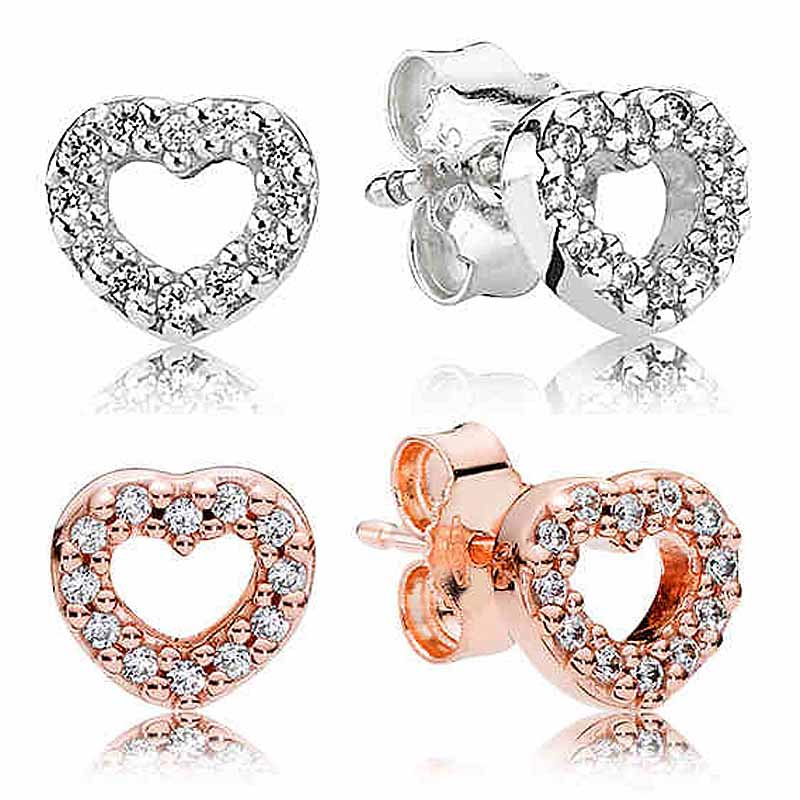 Authentic 925 Sterling Silver Earring Open Heart Pave With Crystal Studs Earring For Women For Women Wedding Gift Fine Jewelry