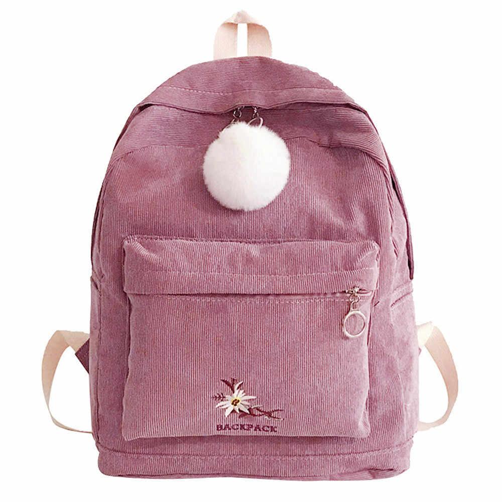 3019 Nova Garota Da Forma de Chegada Saco de Escola Mochila de Veludo Hairball Mulheres Viajam Bolsa de Ombro Dropshipping 30 Bolso de moda