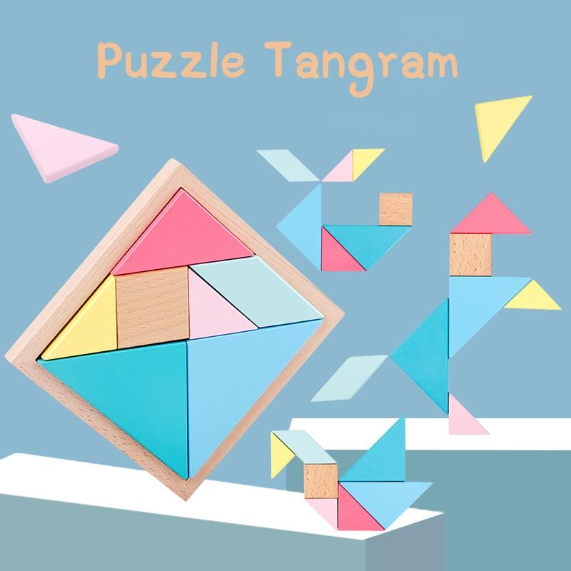 Kolorowy drewniany Tangram Puzzle Jigsaw nauka intelektualna edukacyjna zabawka geometryczny kształt IQ gra zabawka prezenty dla dzieci Dropship