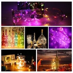 Image 5 - Butelka wina z oświetleniem LED 2M 20LEDs kształt korka drut miedziany kolorowy Mini ciąg światła do użytku wewnątrz pomieszczeń na zewnątrz ślub boże narodzenie światła