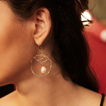 100% Freshwater Pearl Earrings for Women Geometric Circle Natural Freshwater Pearl Drop Earrings Bohemian Baroque Pearl Jewelry circle fake pearl drop earrings page 7
