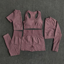 Gym Clothing Leggings Sportswear Crop-Top Yoga-Set Fitness Long-Sleeve Workout Seamless Women