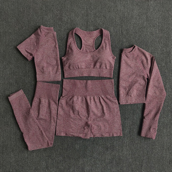 2/3/5PCS Seamless Women Yoga Set Workout Sportswear Gym Clothing Fitness Long Sleeve High Waist Leggings