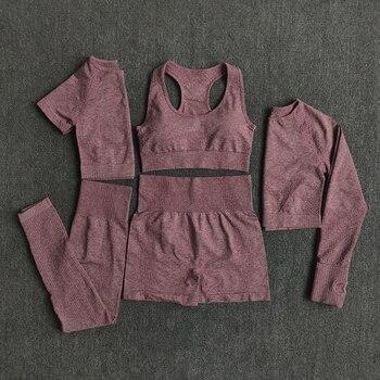 2/3/5 Uds. Conjunto de Yoga sin costuras para mujeres, ropa deportiva de entrenamiento, ropa de gimnasio, ropa deportiva de manga larga, Top corto, Leggings de cintura alta, trajes deportivos