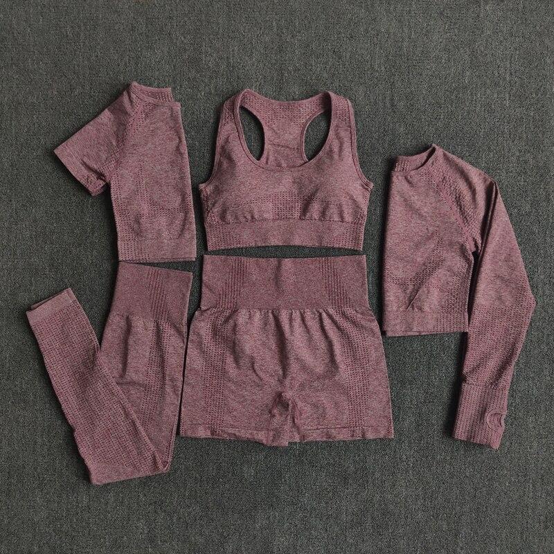 2/3/5 adet dikişsiz kadın Yoga seti egzersiz spor salonu spor giyim spor uzun kollu kırpma üst yüksek bel tayt spor takımları
