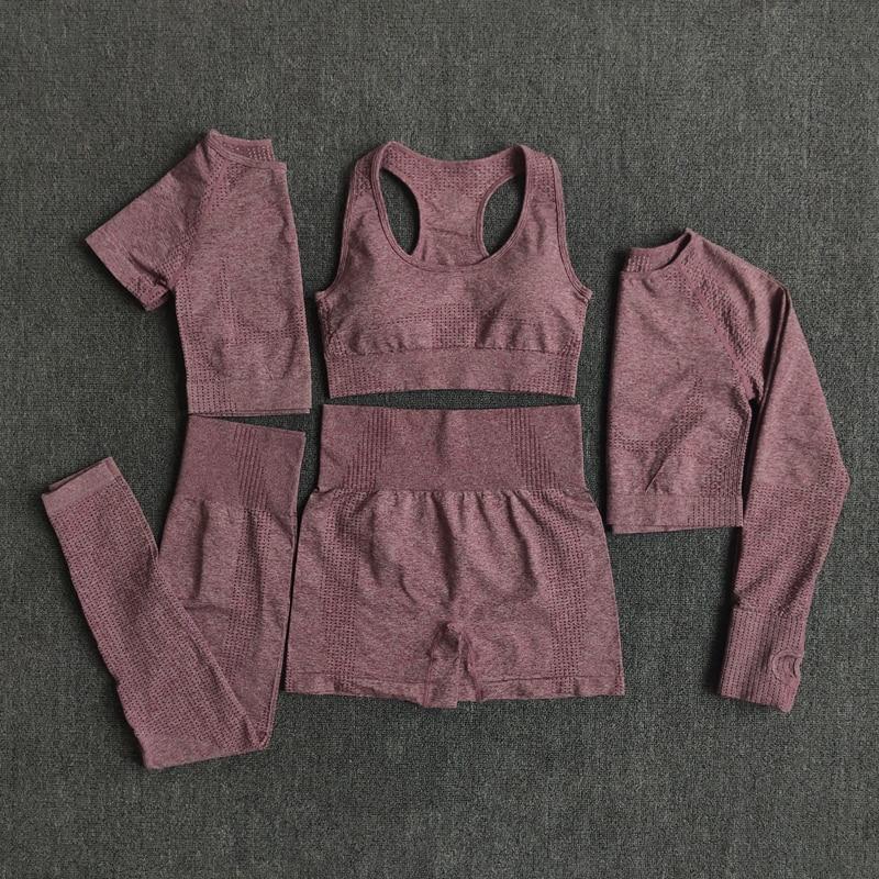 2/3/5PCS Nahtlose Frauen Yoga Set Workout Sportswear Gym Kleidung Fitness Langarm Crop Top Hohe taille Leggings Sport Anzüge