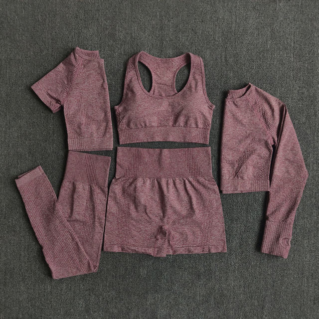 2/3/5PCS Seamless Women Yoga Set Workout Sportswear Gym Clothing Fitness Long Sleeve Crop Top High Waist Leggings Sports Suits Sports & Outdoors