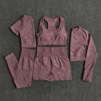 Strój do jogi dla kobiet top koszulka z długim rękawem legginsy z wysokim stanem bezszwowy trening odzież sportowa fitness zestaw 2 3 5 elementów tanie i dobre opinie WAREBALL Akrylowe WOMEN Pełne krótkie bez rękawów Yoga Dobrze pasuje do rozmiaru wybierz swój normalny rozmiar Patchwork