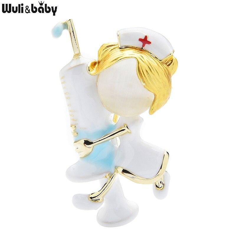 Wuli&baby Enamel Hugging Injection Nurse Brooches Women Cute Opal Doctor Hospital Figure Office Casual Brooch Pins Gifts